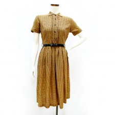 1950s_BlackMustardBrownPlaid_Dress_1