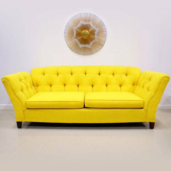 Bright Colored Sofas 1960s 70s Bright Yellow On Tufted Sofa The Modern Historic TheSofa