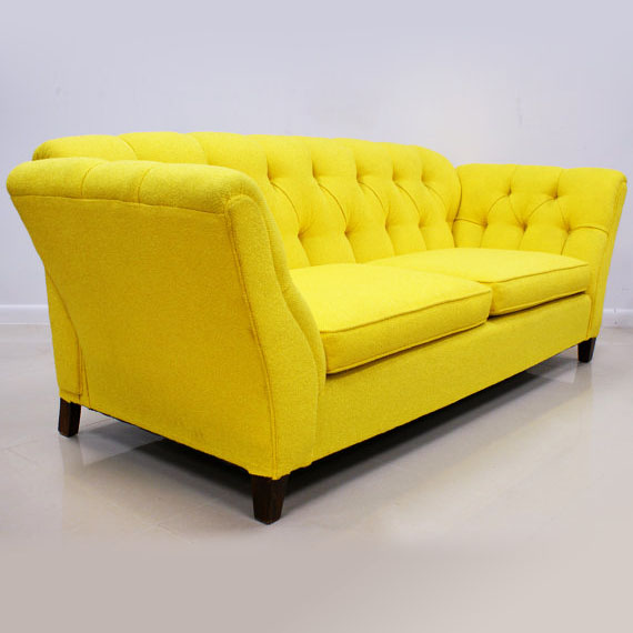 1960s 70s Bright Yellow Button Tufted Sofa The Modern Historic